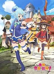Showing all the 4 main character of KonoSuba