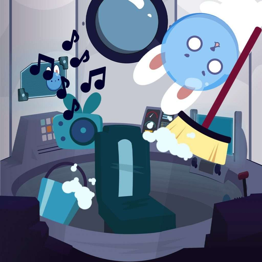 planit-rabbit-bunny-in-space-in-spaceship-floating-trying-to-clean-while-music-is-playing-on-the-radio