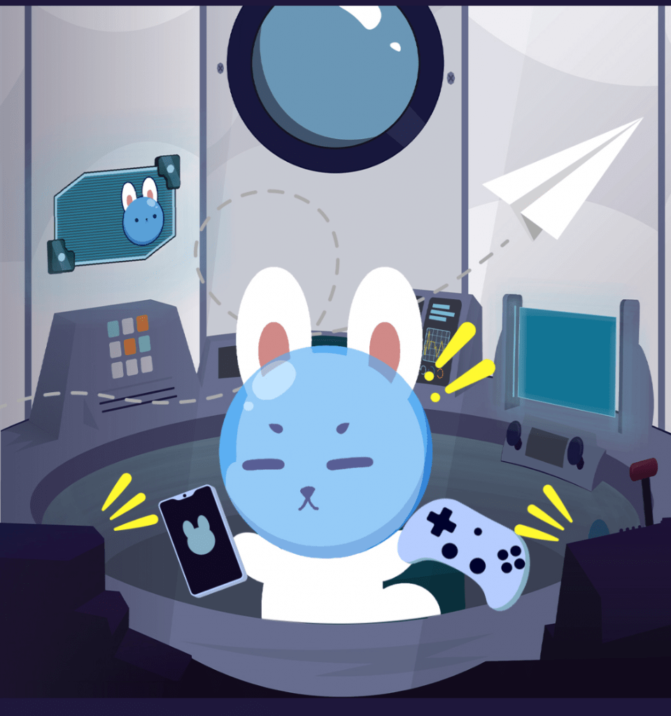 planit-rabbit-bunny-in-space-in-spaceship-using-phone-playing-game-with-paper-plane-flying-around