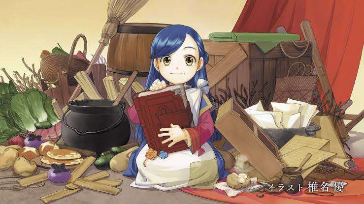 ascendance-of-a-bookworm-myne-holding-a-book-in-mess-of-food-barrels-crates-brooms-shop