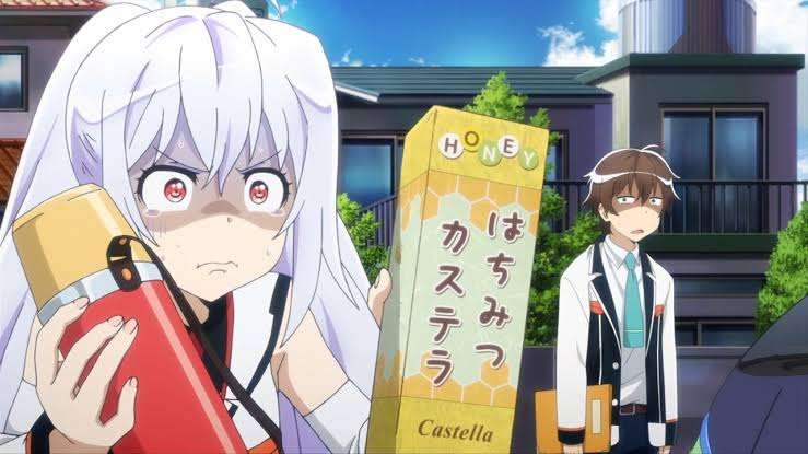 plastic-memories Isla Tsukasa Mizugaki wanting to give someone food snacks drink while he looks in disbelief she is shy