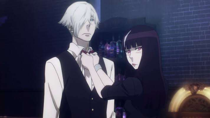 Death-Parade-Decim-Kurokami-no-Onna-helping-him-tie-his-bowtie