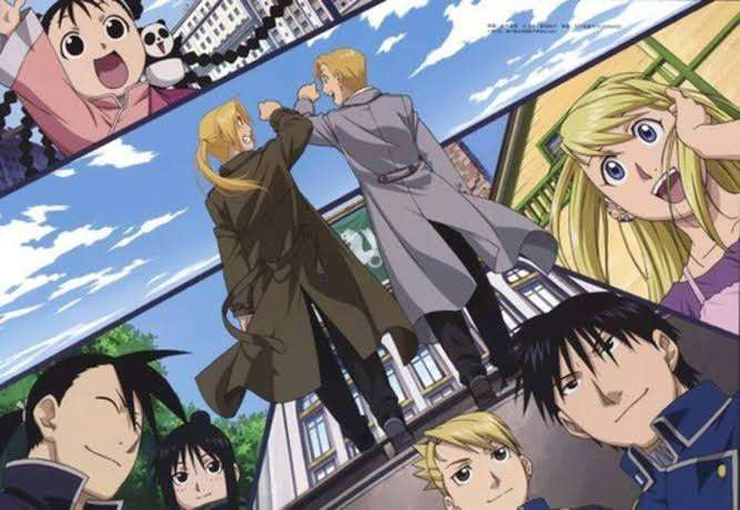 Fullmetal-Alchemist-Brotherhood-edward-alphonso-elric-roy-mustang-hawkeye-riza-yao-ling-winry-rockbell-may-chang-shao-happy