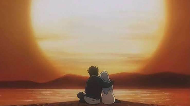 Now and Then, Here and Now Shuuzou Matsutani Lala-Ru watching the sunset in each others arms