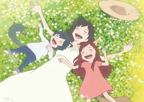 Ookami-Kodomo-no-Ame-to-Yuki-Wolf-Children-hana-ame-yuki-lying-in-grass-laughing