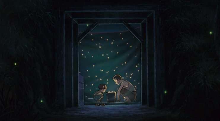 grave of the fireflies Setsuko Seita bomb shelter together looking at fireflies