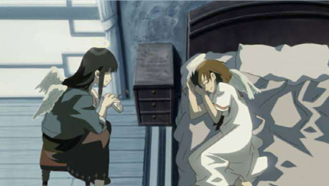 haibane-renmei-reki-rakka-watching-over-her-in-bed-both-laughing
