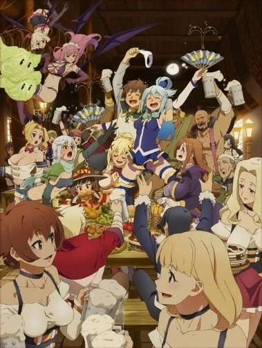 konosuba-god-blessing-on-this-wonderful-world-gang-celebrating-in the guild