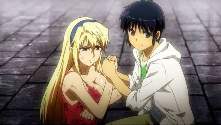 Freezing anime Satellizer el Bridget Kazuya Aoi together holding hands