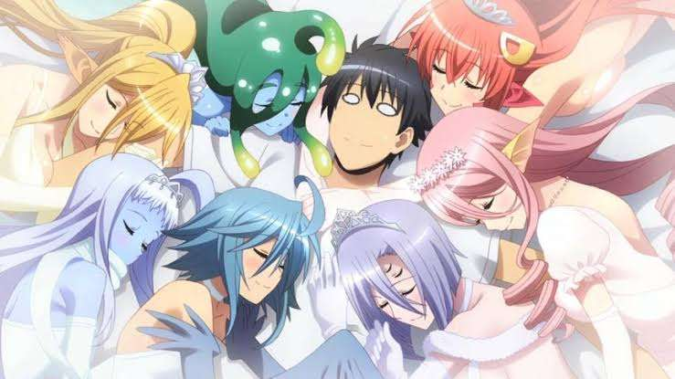 Monster Musume no Iru Nichijou Monster Musume Everyday Life with Monster Girls Miia Rachnera Arachnera Suu Papi Centorea Shianus Kimihito Kurusu Meroune Lorelei Lala sleepover