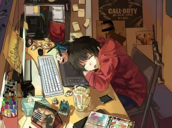 computer-desk-anime-boy-working-hard-fell-asleep